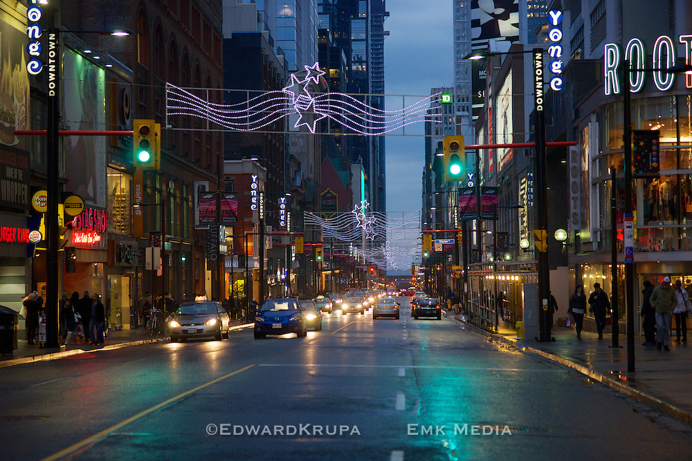 Young St. at twilight in downtown Toronto during Christmas time 2012.