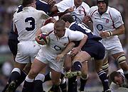 Twickenham, Surrey, 22nd March 2003,  RFU Twickenham Stadium, England, [Mandatory Credit; Peter Spurrier/Intersport Images]<br /> <br /> RBS Six Nations Rugby England v Scotland<br /> Graham Rowntree break's through the Scottish defensive line.