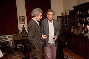 MICHAEL MOLNAC; STEPHEN FREARS, Freud Museum dinner, Maresfield Gardens. 16 June 2011. <br /> <br />  , -DO NOT ARCHIVE-© Copyright Photograph by Dafydd Jones. 248 Clapham Rd. London SW9 0PZ. Tel 0207 820 0771. www.dafjones.com.
