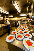 Galley (kitchen) of the Disney Dream, Disney Cruise Lines, sailing between Port Canaveral, Florida and the Bahamas.