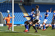 The Magpies score to make it 2-1 during the EFL Sky Bet League 2 match between Chesterfield and Notts County at the b2net stadium, Chesterfield, England on 25 March 2018. Picture by Jon Hobley.