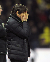 Football - 2017 / 2018 Premier League - Watford vs. Chelsea<br /> <br /> A dejected Antonio Conte after another Watford goal at Vicarage Road.<br /> <br /> COLORSPORT/ANDREW COWIE