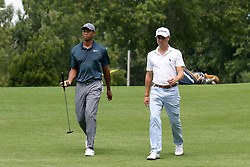 August 9, 2018 - St. Louis, Missouri, United States - Tiger Woods (L) and Justin Thomas approach the 9th tee during the first round of the 100th PGA Championship at Bellerive Country Club. (Credit Image: © Debby Wong via ZUMA Wire)