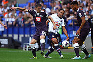 Chris Baird of Derby County (l) tackles Liam Feeney of Bolton Wanderers. Skybet football league championship match, Bolton Wanderers v Derby County at the Macron stadium in Bolton, Lancs on Saturday 8th August 2015.<br /> pic by Chris Stading, Andrew Orchard sports photography.