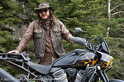 Danger Dan Hardick and his 2-week old Harley-Davidson Pan-America adventure bike just outside Red River, NM, USA. Saturday, May 29, 2021. Photography ©2021 Michael Lichter.