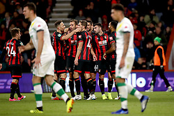 Bournemouth's Steve Cook (fourth left) celebrates scoring his side's second goal of the game with his team mates