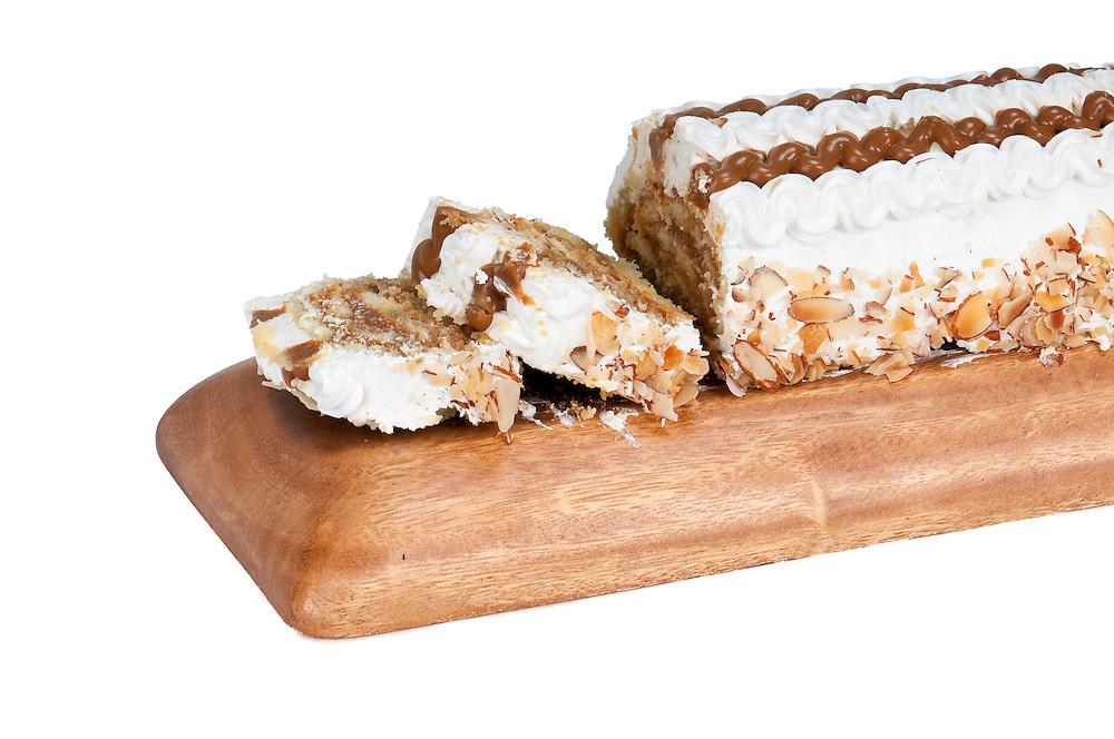Close-up of Caramel roll dessert ready to serve.