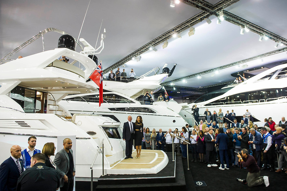 The Sunseeker stand includes Nicole Scherzinger (pictured) launching the new Predator 57 with the Sunseeker Founder, Robert Braithwaite (pictured). The CWM FX London Boat Show, taking place 09-18 January 2015 at the ExCel Centre, Docklands, London. 09 Jan 2015.