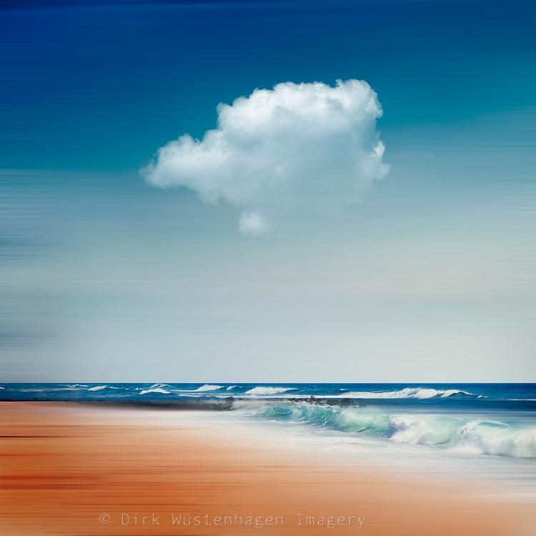 Waves crashing on beach at the Atlantic coast - manipulated abstract photography