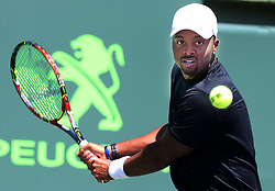 March 22, 2018 - Key Biscayne, FL, USA - Donald Young of the United States returns against Leonardo Mayer of Argentina during the first round of the Miami Open in Key Biscayne, Fla., on Thursday, March 22, 2018. (Credit Image: © Pedro Portal/TNS via ZUMA Wire)