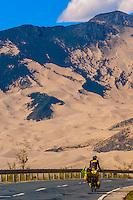 Tourist bicycling, Gonggar, Shannan Prefecture, Tibet (Xizang), China.