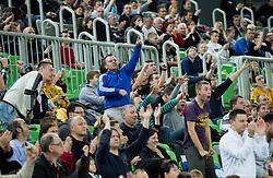 Fans of Union Olimpija during basketball match between KK Union Olimpija Ljubljana and KK Cibona Zagreb (CRO) in 11th Round of ABA League 2012/13 on December 2, 2012 in Arena Stozice, Ljubljana, Slovenia. Union Olimpija defeated Cibona 87-82. (Photo By Vid Ponikvar / Sportida)