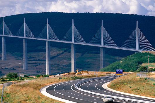 Viaduc de Millau, world's highest bridge, designed by architect Norman Foster in Millau, France
