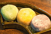 Mochi is a Japanese rice cake made of glutinous rice pounded into paste and then molded into shape. Many types of traditional wagashi and mochigashi or Japanese traditional sweets are made with mochi. For example, daifuku is a soft round mochi stuffed with sweet filling such as bean paste.