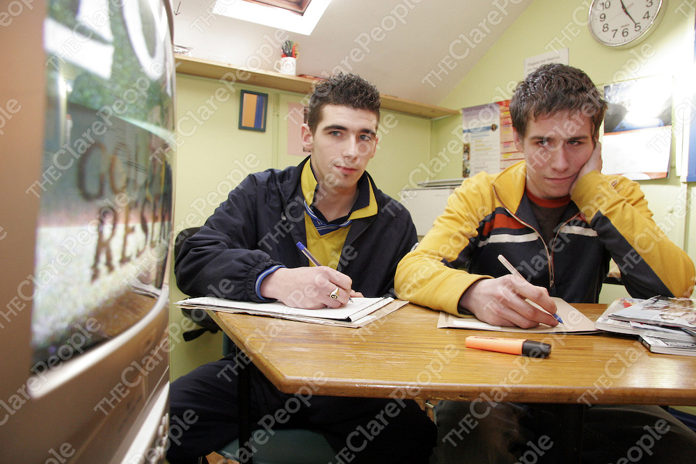 Pa Sherlock and Damien Cooley in their communications class in the Clare Youth Service Centre in Ennis during the week.<br /><br />Photograph by Yvonne Vaughan.