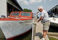 1952 27' Chris Craft Cruiser launched at  Irwin Marine on Paugus Bay.  Karen Bobotas/ for the Laconia Daily Sun