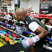 LAS VEGAS, NV - APRIL 14: WBC/WBA welterweight champion Floyd Mayweather Jr. enters the ring to workout at the Mayweather Boxing Club on April 14, 2015 in Las Vegas, Nevada. Mayweather will face WBO welterweight champion Manny Pacquiao in a unification bout on May 2, 2015 in Las Vegas.  (Photo by Alex Menendez/Getty Images) *** Local Caption *** Floyd Mayweather Jr.