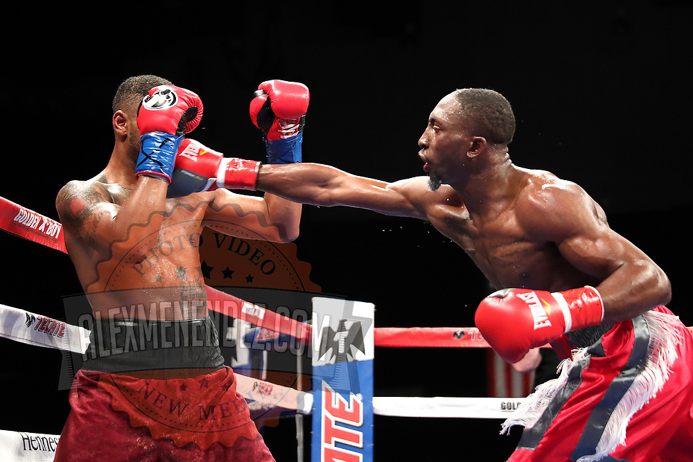 VERONA, NY - JUNE 08: Travell Mazion (R) punches Daquan Pauldo  during the Golden Boy on ESPN fight night at Turning Stone Resort Casino on June 8, 2018 in Verona, New York. (Photo by Alex Menendez/Getty Images) *** Local Caption *** Daquan Pauldo; Travell Mazion