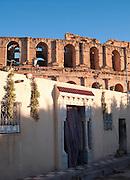 Curtain in doorway in front of Roman amphitheatre, El Djem, Tunisia