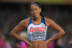 Great Britain's Katarina Johnson-Thompson appears dejected after the 800m event of the women's Heptathlon during day three of the 2017 IAAF World Championships at the London Stadium.