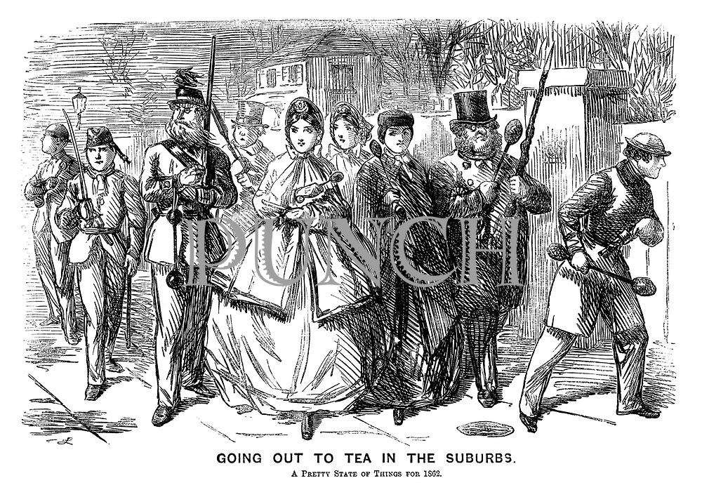 Going Out to Tea in the Suburbs. A pretty state of things for 1862.