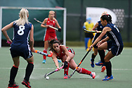 Xenna Hughes of Wales © passes past Darya Belavusava (l) and Maryna Nikitsina of Belarus (r).Belarus v Wales, EuroHockey 11 Women's championshp 2017 in Cardiff, South Wales , Wednesday 9th August 2017<br /> pic by Andrew Orchard
