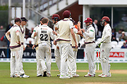 Wicket - James Hildreth of Somerset is congratulated after catching Nick Browne of Essex off the bowling of Dom Bess of Somerset during the Specsavers County Champ Div 1 match between Somerset County Cricket Club and Essex County Cricket Club at the Cooper Associates County Ground, Taunton, United Kingdom on 26 September 2019.