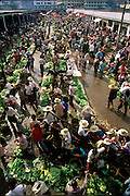 Menghan Sunday Market in Xishuangbanna, China (near the Burma border) is green and leafy in the spring with cucumbers, squash, green onions, long beans, leeks, and bok choy. (Supporting image from the project Hungry Planet: What the World Eats) Xishuangbanna, China.