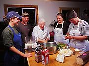 Sara Spudowski, Steve Lacroix, Kirsten Dixon and Patty Park enjoying cooking seminar led by Madeleine Kamman, Winterlake Lodge, Alaska.