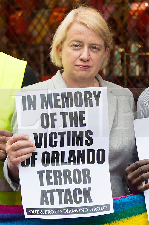 © Licensed to London News Pictures. 13/06/2016. British Green party leader politician Natalie Bennett joins London's gay village to honour victims of Pulse shooting in the United States.  It is alleged that The gunman, Omar Mateen killed at least 50 people in Pulse nightclub in Floriday, USA.  London, UK. Photo credit: Ray Tang/LNP