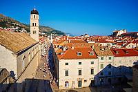 Croatie, Dalmatie, côte dalmate, Dubrovnik, centre historique classé Patrimoine Mondial de l'UNESCO, rue principale Placa Stradum // Croatia, Dalmatia, Dubrovnik, historical centre, Unesco World Heritage site, old town, main street Placa Stradum