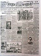 The 'News of the World' Newspaper 10th July 2011. The commemorative final edition of the newspaper carries a re-print of the Issue, marking the capture of the Murderer Dr Herbert Hawley Crippen (1862-1910) and his lover, Ethel le Neve, arrested on the bridge of Atlantic liner 'Montrose'. Ship's master had read newspaper reports of the murder in London and was suspicious of  two of his passengers. Radioed Scotland Yard who sent detective by pilot boat to effect arrest. First police use of radiotelegraphy. August, 1910.