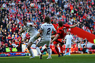 Steven Gerrard of Liverpool legends team tries an acrobatic shot at goal which goes high into the Kop. Liverpool Legends  v Real Madrid Legends, Charity match for the LFC Foundation at the Anfield stadium in Liverpool, Merseyside on Saturday 25th March 2017.<br /> pic by Chris Stading, Andrew Orchard sports photography.