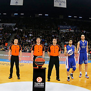Anadolu Efes's and Fenerbahce Ulker's players during their Turkish Airlines Euroleague Basketball Top 16 Round 7 match Anadolu Efes between Fenerbahce Ulker at Abdi ipekci arena in Istanbul, Turkey, Friday 13 February, 2015. Photo by Aykut AKICI/TURKPIX
