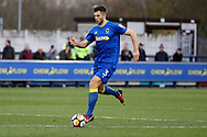 AFC Wimbledon defender Jon Meades (3) dribbling during the The FA Cup match between AFC Wimbledon and Charlton Athletic at the Cherry Red Records Stadium, Kingston, England on 3 December 2017. Photo by Matthew Redman.