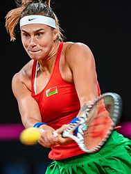 Aryna Sabalenka in action in the match against Arantxa Rus in the Fed Cup qualifier against Belarus in Sportcampus Zuiderpark, The Hague, Netherlands