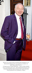 Mayor of London KEN LIVINGSTONE dressed in an Ozwald Boateng suit, at a party in London on 29th May 2002.PAM 11