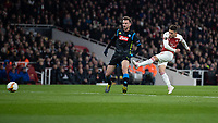 Football - 2018 / 2019 UEFA Europa League - Quarter Final, First Leg Arsenal vs. Napoli <br /> <br /> Lucas Torreira (Arsenal FC) strikes home Arsenal's second goal of the evening at The Emirates.<br /> <br /> COLORSPORT/DANIEL BEARHAM