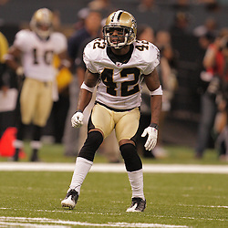 2008 August 28: Cornerback, Jason David (42) of the New Orleans Saints once a starter was fighting to remain on the roster when the Saints played against the Miami Dolphins in a preseason game at the Louisiana Superdome in New Orleans, LA.