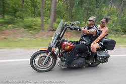 Dave Wilson and Monica Arthur on the Annual Cycle Source and Michael Lichter Rides (combined this year) left from the new Broken Spoke area of the Iron Horse Saloon during the Sturgis Black Hills Motorcycle Rally. SD, USA.  Wednesday, August 10, 2016.  Photography ©2016 Michael Lichter.