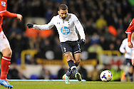 Tottenham's Aaron Lennon's in action. Barclays Premier League , Tottenham Hotspur v Cardiff city at White Hart Lane in London, England on Sunday 2nd March 2014.<br /> pic by John Fletcher, Andrew Orchard sports photography.
