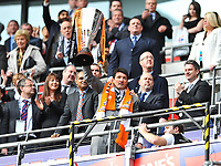 Mick Harford manager of Luton Town raises the trophy<br /> Luton Town vs Scunthorpe United<br /> Johnstone's Paint Trophy, Wembley Stadium, UK<br /> 05/04/2009. Credit Colorsport/Dan Rowley