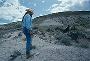 Paleontologist Bob Bakker prospects for dinosaurs at Como Bluff, Wyoming once a Jurassic Parkway.