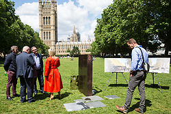 London, UK. 6 June, 2019. Lord Pickles and Ed Balls, co-chairs of the UK Holocaust Memorial Fund, select bronze and limestone for the UK Holocaust Memorial and Learning Centre in Victoria Tower Gardens beside Parliament with Asa Bruno, Director of Ron Arad Architects, and Lucy Tilley, Associate Principal of Adjaye Associates architects. The Prime Minister recently led cross-party support for the new memorial.