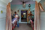 Barber shop, Jaipur's Pink City bazar area.
