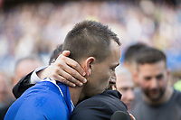 Football - 2016 / 2017 Premier League - Chelsea vs. Sunderland <br /> <br /> Chelsea Manager Antonio Conte gives captain John Terry a hug during his farewell speech at Stamford Bridge.<br /> <br /> COLORSPORT/DANIEL BEARHAM