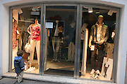 Vipiteno (Sterzing) northern Italy Young boy window-shopping