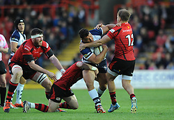 Bristol Rugby's Ellis Genge is challenged by Jersey Rugby's Ryan Glynn and Jersey Rugby's Lewis Robling - Photo mandatory by-line: Dougie Allward/JMP - Mobile: 07966 386802 - 17/04/2015 - SPORT - Rugby - Bristol - Ashton Gate - Bristol Rugby v Jersey - Greene King IPA Championship