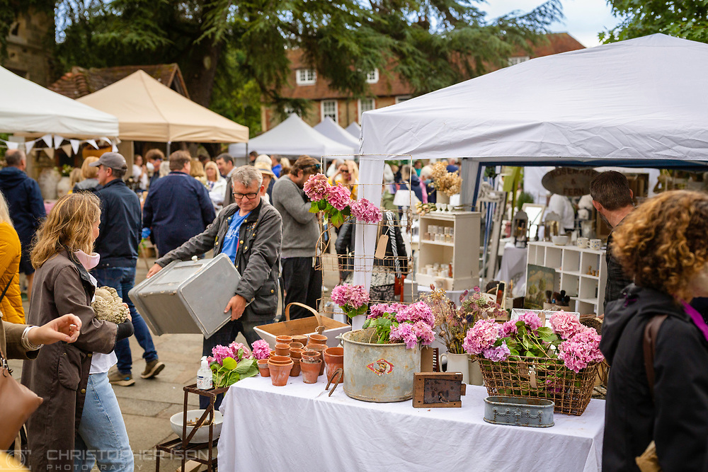 The Brocante Fair in Market Square and West Street, Midhurst, West Sussex.<br /> Picture date: Saturday July 25, 2020.<br /> Photograph by Christopher Ison ©<br /> 07544044177<br /> chris@christopherison.com<br /> www.christopherison.com<br /> <br /> IMPORTANT NOTE REGARDING IMAGE LICENCING FOR THIS PHOTOGRAPH: This image is supplied to the client under the terms previously agree. No sales are permitted unless expressly agreed in writing by the photographer.
