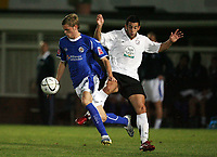 Photo: Rich Eaton.<br /> <br /> Hereford United v Leicester City. Carling Cup. 19/09/2006. Richard Stearman left of Leicester gets to the ball ahead of Herefords Stuart Fleetwood